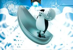 3d penguin on golden boat and holding earth in hand illustration Royalty Free Stock Photography