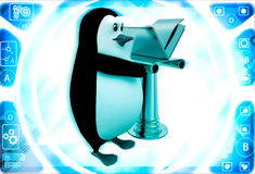 3d penguin with golden file illustration Stock Images
