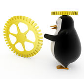 3d penguin with golden mechanical wheels concept Stock Images
