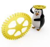 3d penguin with golden mechanical wheels concept Stock Image