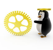3d penguin with golden mechanical wheels concept Stock Photos