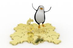 3d penguin with golden money Royalty Free Stock Photography
