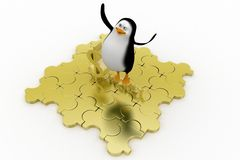 3d penguin with golden money Stock Photos