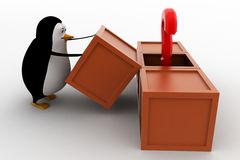 3d penguin got question mark from box concept Stock Photo