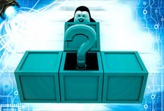 3d penguin got question mark from box illustration Royalty Free Stock Photography