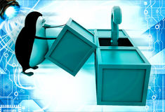 3d penguin got question mark from box illustration Stock Photography