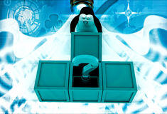 3d penguin got question mark from box illustration Stock Photos