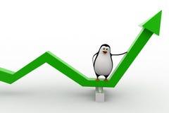 3d penguin on green arrow going up concept Stock Photos