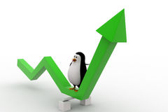 3d penguin on green arrow going up concept Stock Image