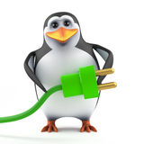 3d Penguin green energy power Royalty Free Stock Image