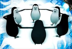 3d penguin group team standing in circle illustation Royalty Free Stock Image