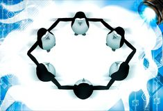 3d penguin group team standing in circle illustation Royalty Free Stock Photos