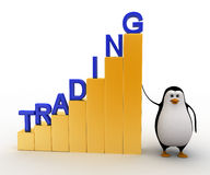 3d penguin with growth graph of trading concept Royalty Free Stock Photos
