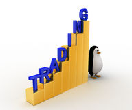 3d penguin with growth graph of trading concept Royalty Free Stock Photo