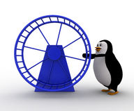 3d penguin with hamster wheel concept Stock Photos
