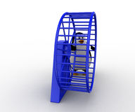 3d penguin with hamster wheel concept Stock Photography