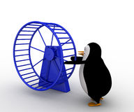 3d penguin with hamster wheel concept Royalty Free Stock Photography