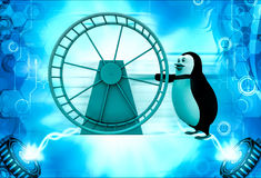 3d penguin with hamster wheel illustration Royalty Free Stock Photos