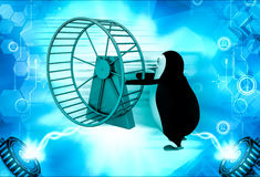 3d penguin with hamster wheel illustration Royalty Free Stock Images
