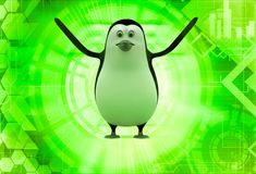 3d penguin happy and dancing illustration Royalty Free Stock Photography