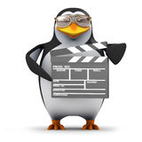 3d Penguin has a clapperboard Royalty Free Stock Photos