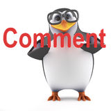 3d Penguin has a comment Stock Photography