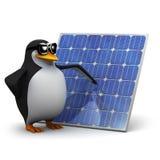 3d Penguin has installed solar panels Royalty Free Stock Photos