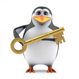 3d Penguin has the key Stock Photography
