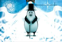 3d penguin with hat and walking stick in style of english man illustration Stock Photo