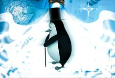 3d penguin with hat and walking stick in style of english man illustration Royalty Free Stock Photo