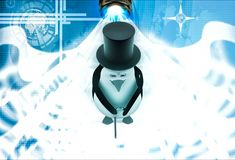 3d penguin with hat and walking stick in style of english man illustration Stock Photography