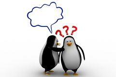 3d penguin having a doubtful conversation Royalty Free Stock Photo