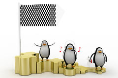 3d penguin hearing music on puzzles Royalty Free Stock Photos