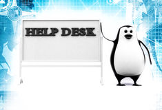 3d penguin with help desk hoarding illustration Royalty Free Stock Images