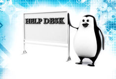 3d penguin with help desk hoarding illustration Royalty Free Stock Photography