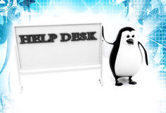 3d penguin with help desk hoarding illustration Stock Images