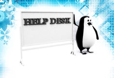 3d penguin with help desk hoarding illustration Stock Photo