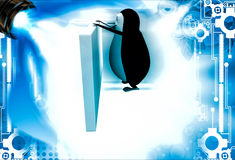 3d penguin hide behind abstract wall illustration Royalty Free Stock Images