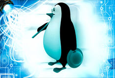 3d penguin holding axe to cut wood illustration Stock Image