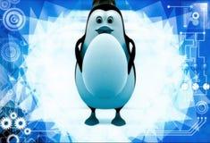 3d penguin holding big egg in hands illustration Royalty Free Stock Photo