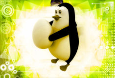 3d penguin holding big egg in hands illustration Royalty Free Stock Images