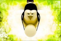 3d penguin holding big egg in hands illustration Stock Photography