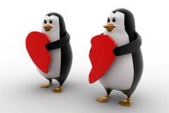 3d penguin holding broken heart in hands concept Stock Images