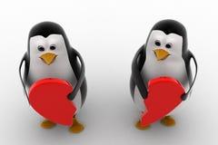 3d penguin holding broken heart in hands concept Stock Photos