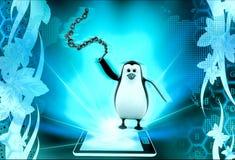 3d penguin  holding chain lash concept Stock Photo