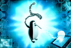 3d penguin  holding chain lash concept Royalty Free Stock Images