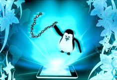 3d penguin  holding chain lash concept Royalty Free Stock Photo