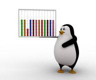 3d penguin holding colourful abacus concept Royalty Free Stock Photos