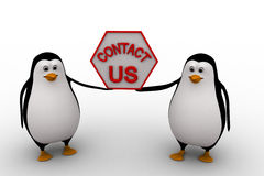 3d penguin holding contact us sign board for service concept Royalty Free Stock Photos