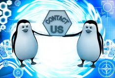 3d penguin holding contact us sign board for service illustration Stock Images